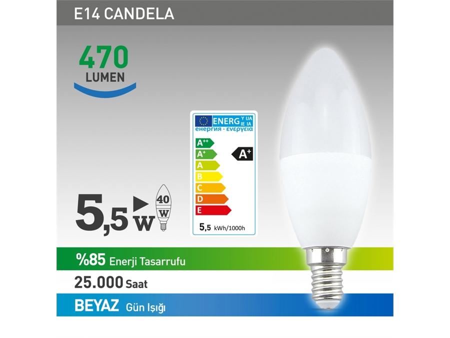 NextLed E14 Led Candela Mum Ampül 5,5W Beyaz YE-E14DAF-5,5WB - 8698683817583