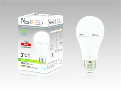 Next & Next Star Şarj Edilebilir Acil Aydınlatma Ampül E27 / 7W / Beyaz Işık - 8698683817163